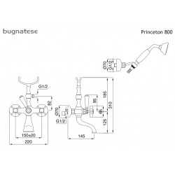 ΜΠΑΤΑΡΙΑ ΛΟΥΤΡΟΥ ΠΛΗΡΗΣ BUGNATESE PRINCETON BRONZE 800-220